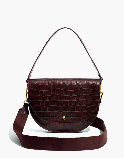 The Richmond Saddle Bag: Croc Embossed Leather Edition by Madewell