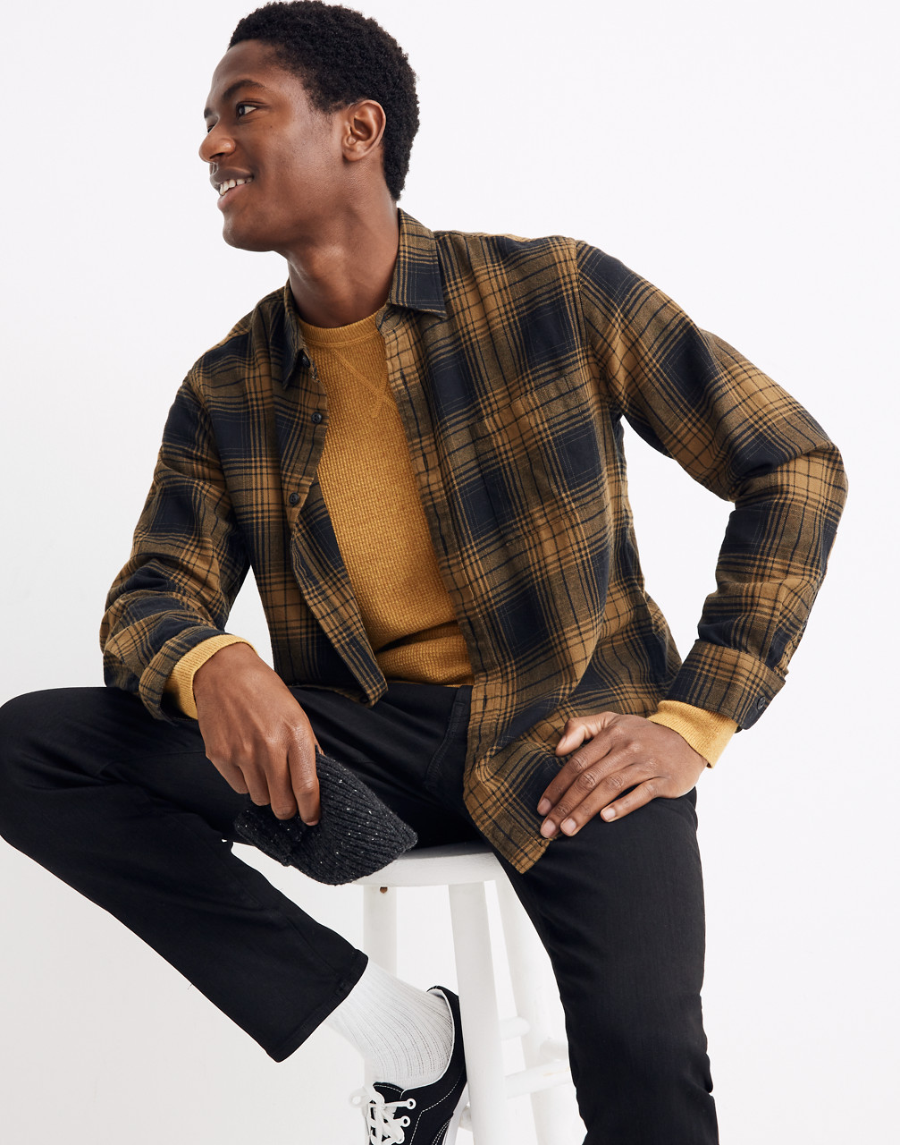 80s Men's Clothing | Shirts, Jeans, Jackets for Guys Brushed Twill Shirt in Braybrook Plaid $88.00 AT vintagedancer.com