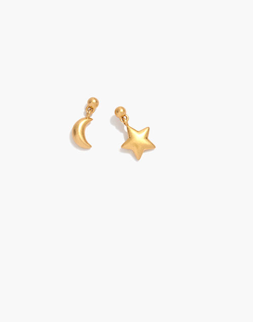 Moon And Star Puffs Drop Earrings