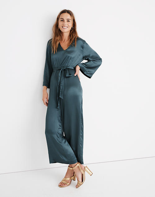 Satin V Neck Jumpsuit by Madewell