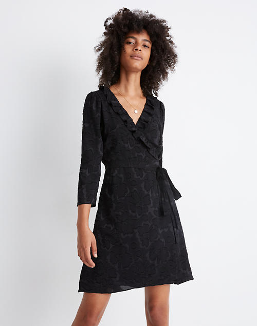 Ruffled Wrap Dress In Floral Jacquard by Madewell