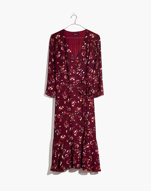 Ruffle Hem Wrap Dress In Carnation Toss