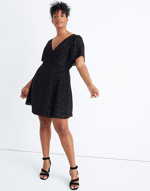 Cape Sleeve Mini Dress In Metallic Dots by Madewell