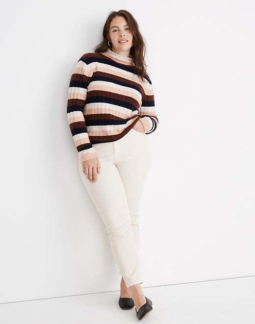 Striped Evercrest Turtleneck Sweater In Coziest Yarn by Madewell