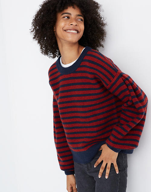 Striped Grady Balloon Sleeve Pullover Sweater In Coziest Yarn by Madewell