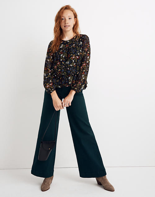 Sheer Sleeve Ruffle Peplum Top In Finch Floral by Madewell