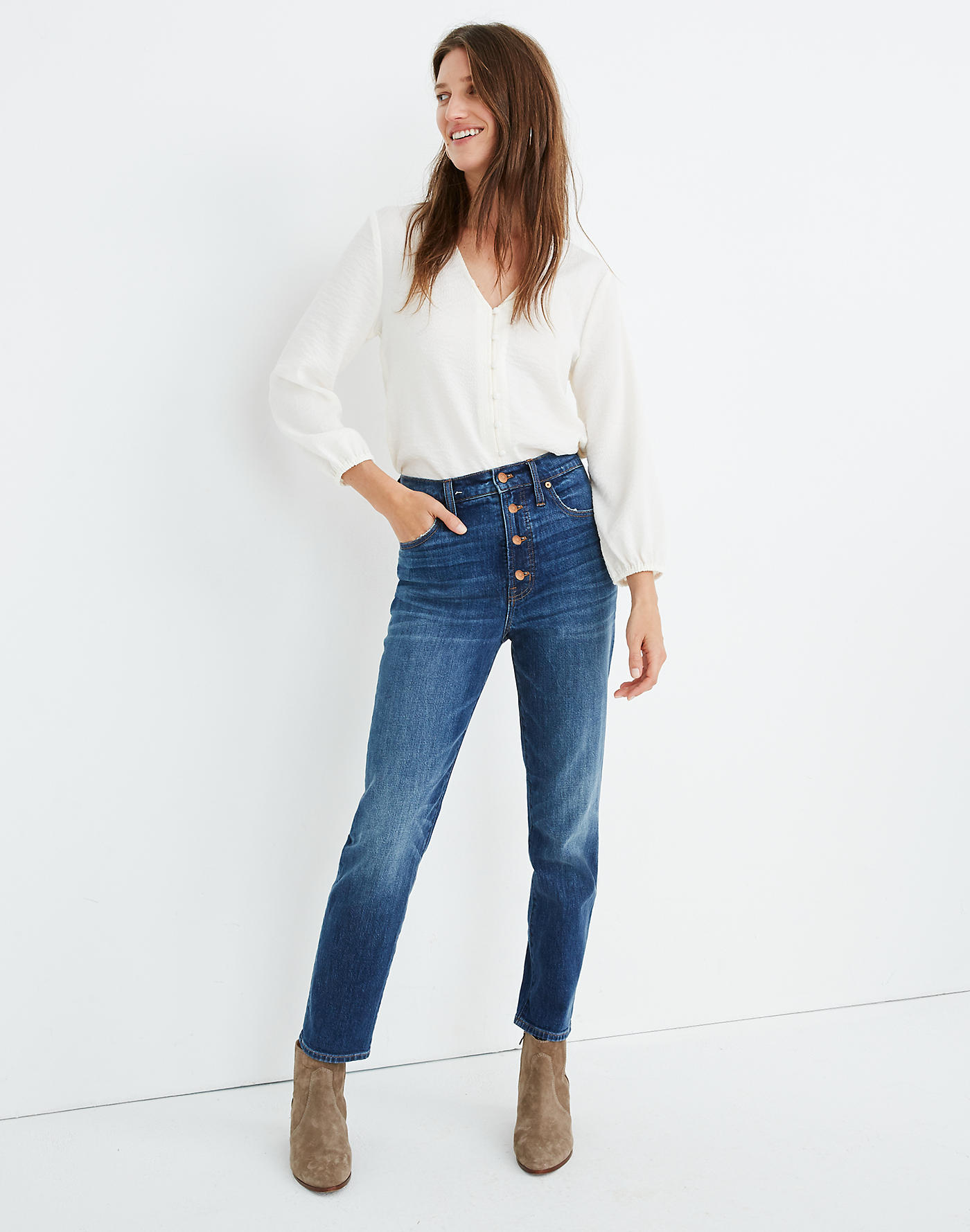 Madewell The Perfect Vintage Jean in Barnsdale Wash: Button-Front Edition