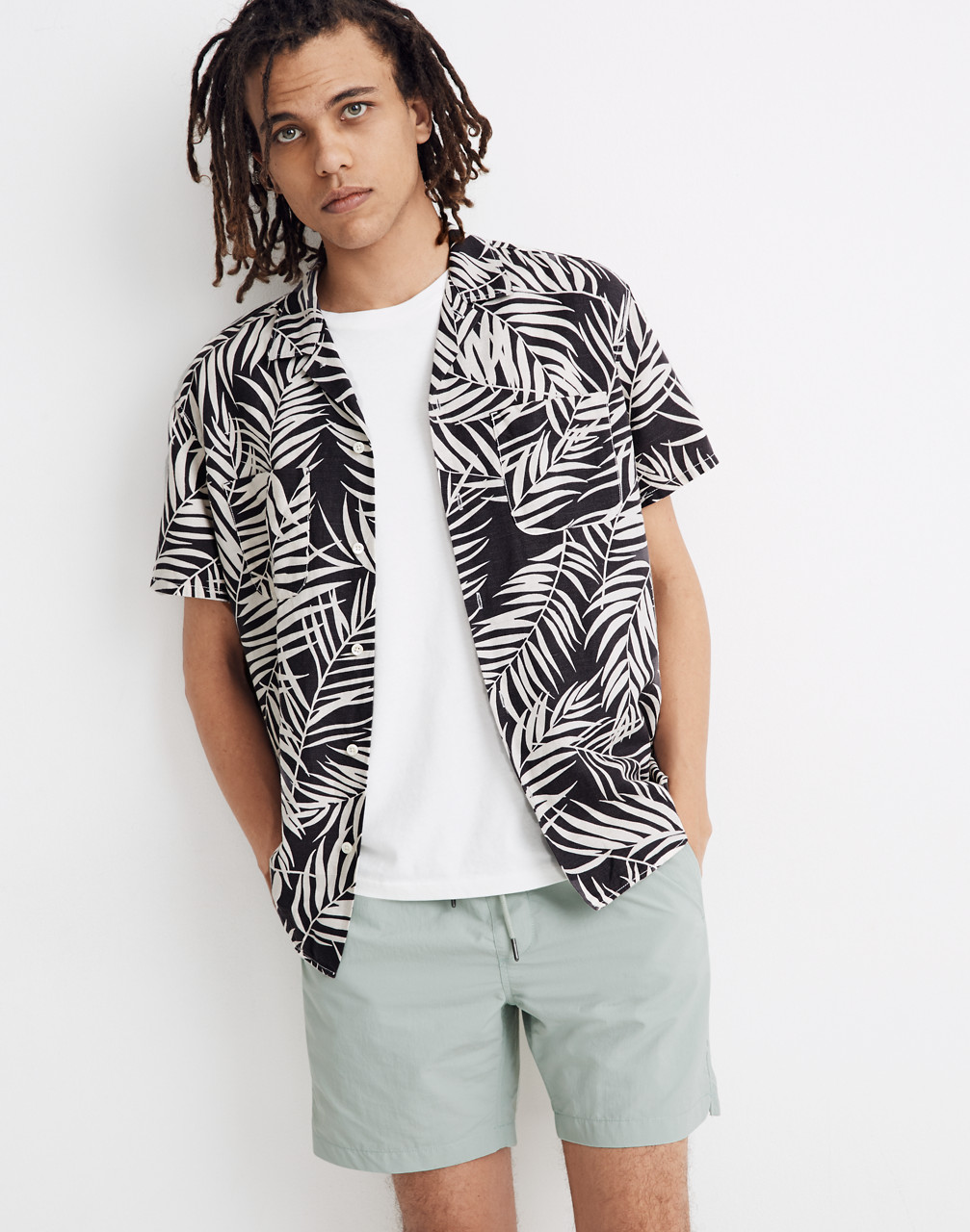 80s Men's Fashion & Clothing for Guys Easy Camp Shirt in Fern Fronds $59.99 AT vintagedancer.com