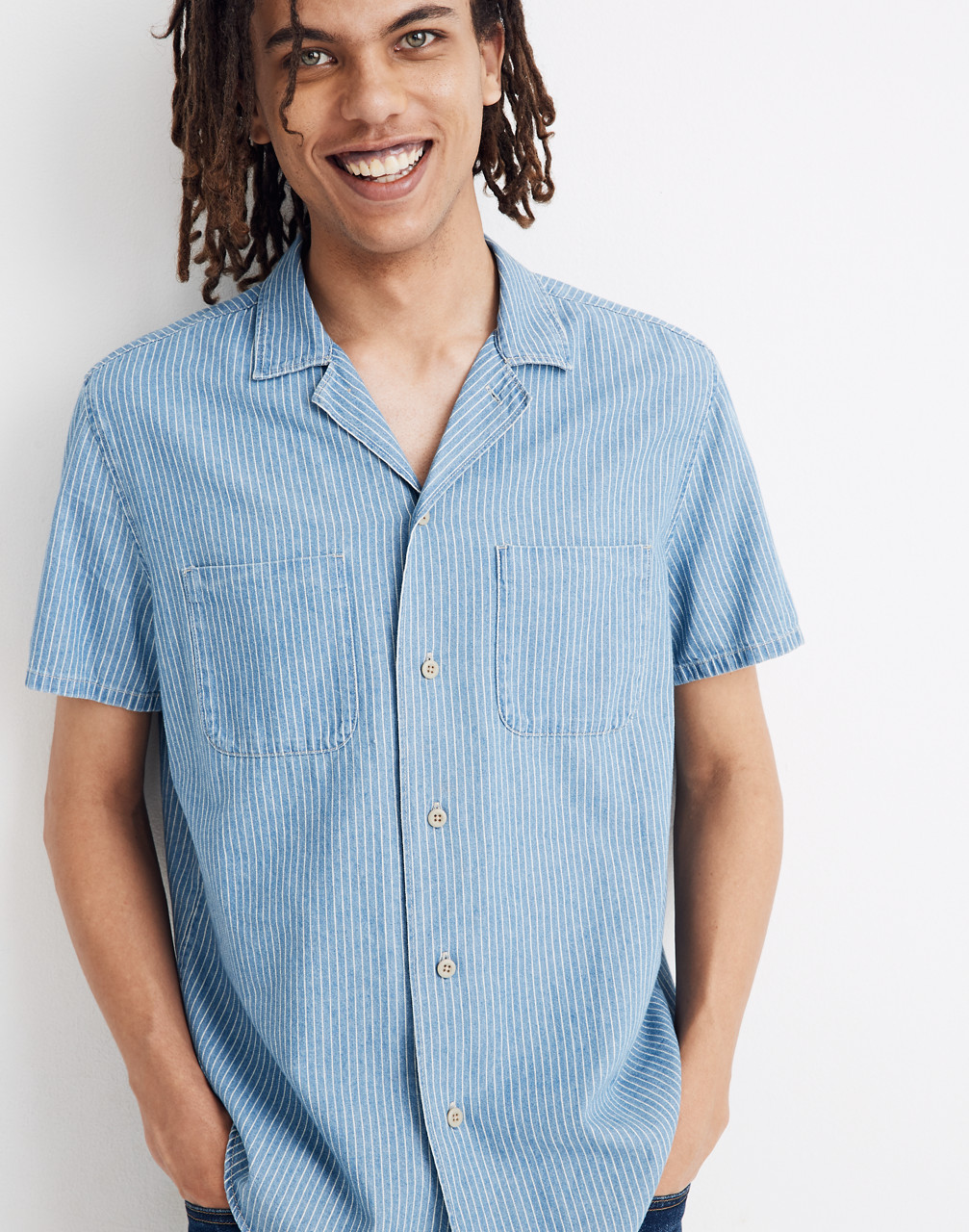 Men's Vintage Workwear – 1920s, 1930s, 1940s, 1950s Easy Camp Shirt in Indigo Railroad Stripe $79.50 AT vintagedancer.com