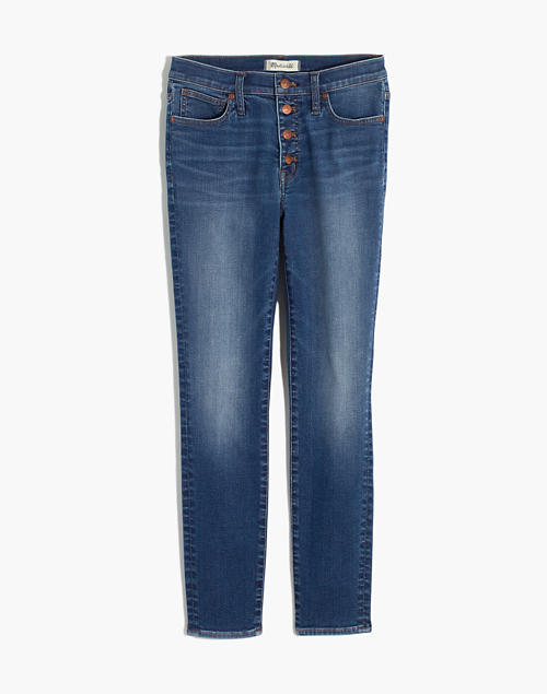 """9"""" Mid-Rise Skinny Crop Jeans: Button-Front TENCEL™ Denim Edition in dewey wash image 5"""