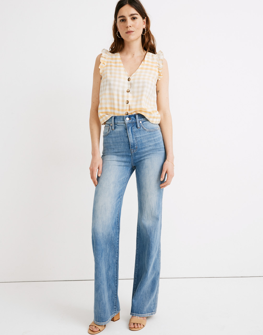 60s – 70s Pants, Jeans, Hippie, Bell Bottoms, Jumpsuits 11 High-Rise Flare Jeans in Arbordale Wash $75.99 AT vintagedancer.com