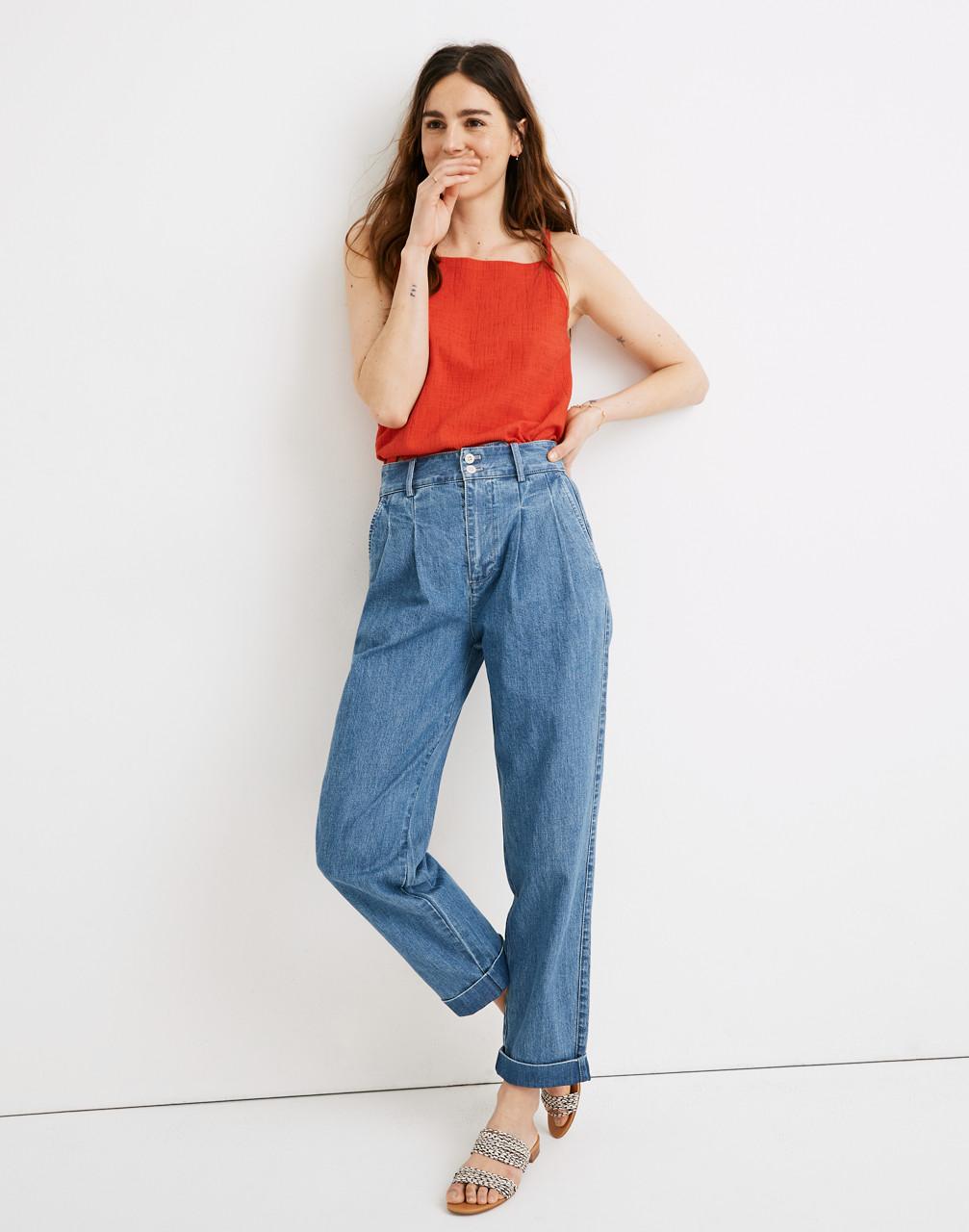 60s – 70s Pants, Jeans, Hippie, Bell Bottoms, Jumpsuits Pleated Taper Wide-Leg Jeans $75.99 AT vintagedancer.com