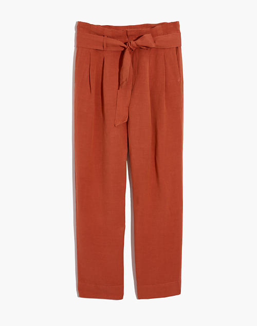 Linen-Blend Paperbag Pants in afterglow red image 5