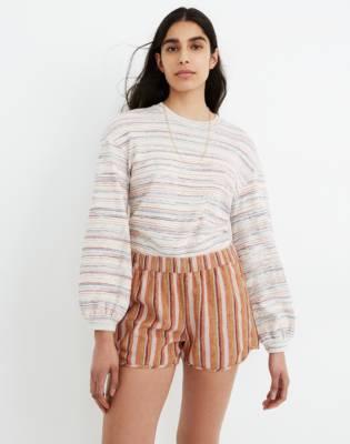 Linen-Cotton Pull-On Shorts in Rainbow Stripe