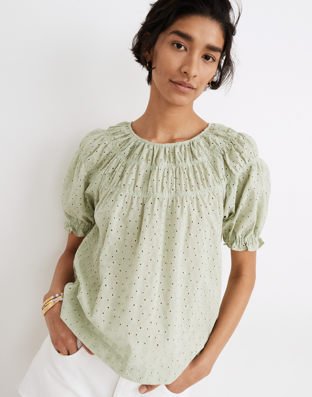 Edwardian Blouses |  Lace Blouses & Sweaters Daisy Embroidered Shirred Puff-Sleeve Top $88.00 AT vintagedancer.com