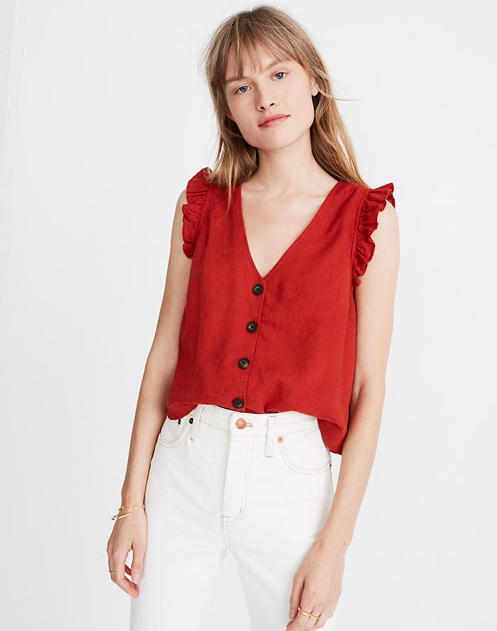 Ladies Womens Sleeveless Top Buttoned Cotton Summer 2 Pockets Casual TOP VEST