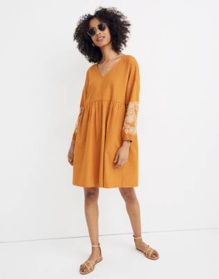 Embroidered-Sleeve Popover Dress