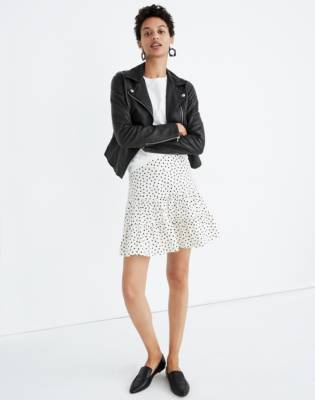 Tiered Mini Skirt in Inkbrush Dots