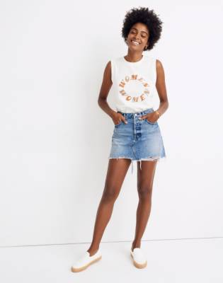 Rigid Denim Relaxed Mini Skirt in Rosehill Wash