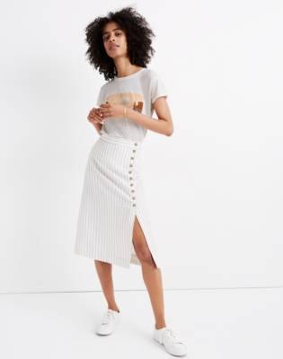 Side-Button Midi Skirt in Pinstripe