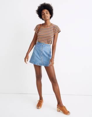 Stretch Denim A-Line Mini Skirt in Miller Wash