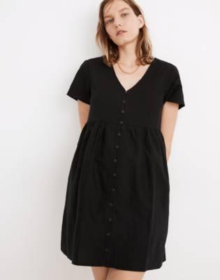Petite Linen-Blend V-Neck Button-Front Mini Dress