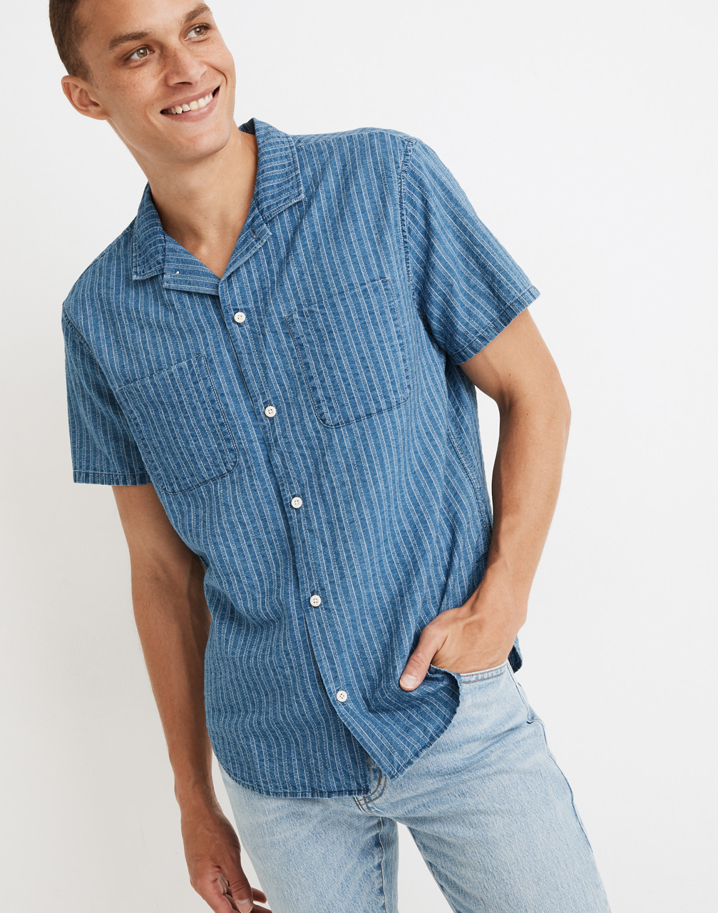Men's Vintage Workwear Inspired Clothing Indigo Easy Camp Shirt in Textured Stripe $54.99 AT vintagedancer.com