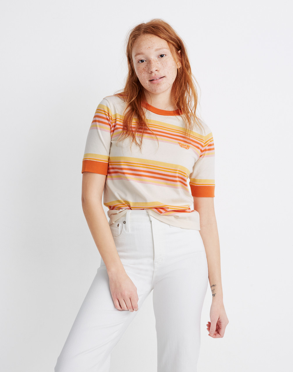 70s Outfits – 70s Style Ideas for Women Madewell x Free amp Easyreg Embroidered Relaxed Tee $32.99 AT vintagedancer.com