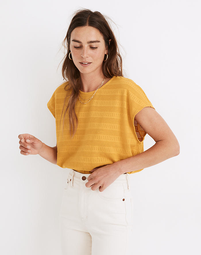 Madewell Pointelle Knit Short-Sleeve Crop Top
