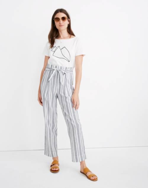 Linen-Cotton Paperbag Pants in Dark Baltic Stripe | Madewell