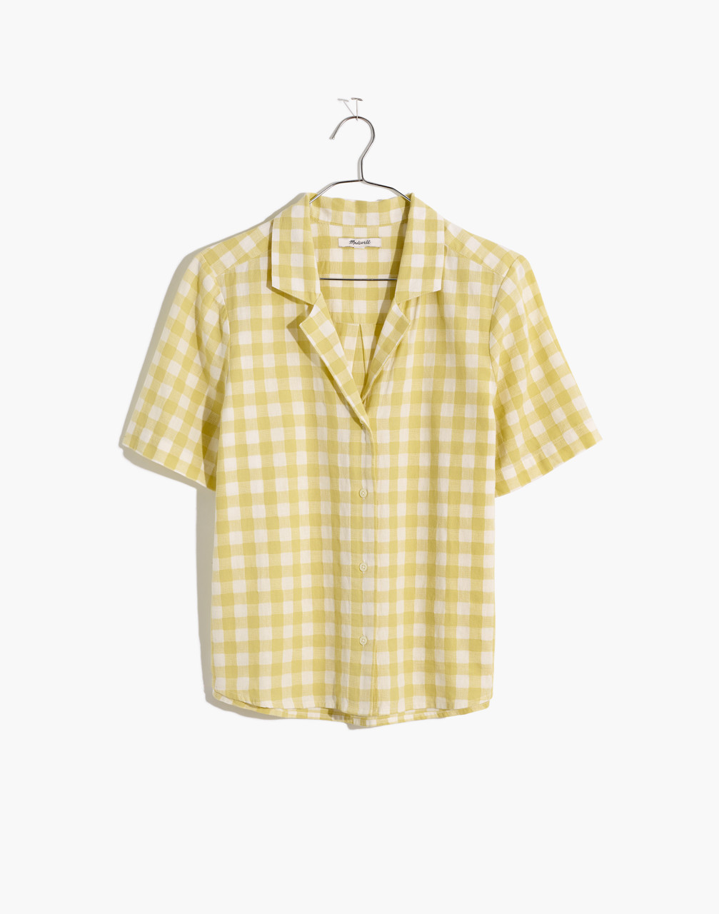1940s Blouses, Shirts and Tops Fashion History Linen-Blend Boxy Camp Shirt in Gingham Check $49.99 AT vintagedancer.com