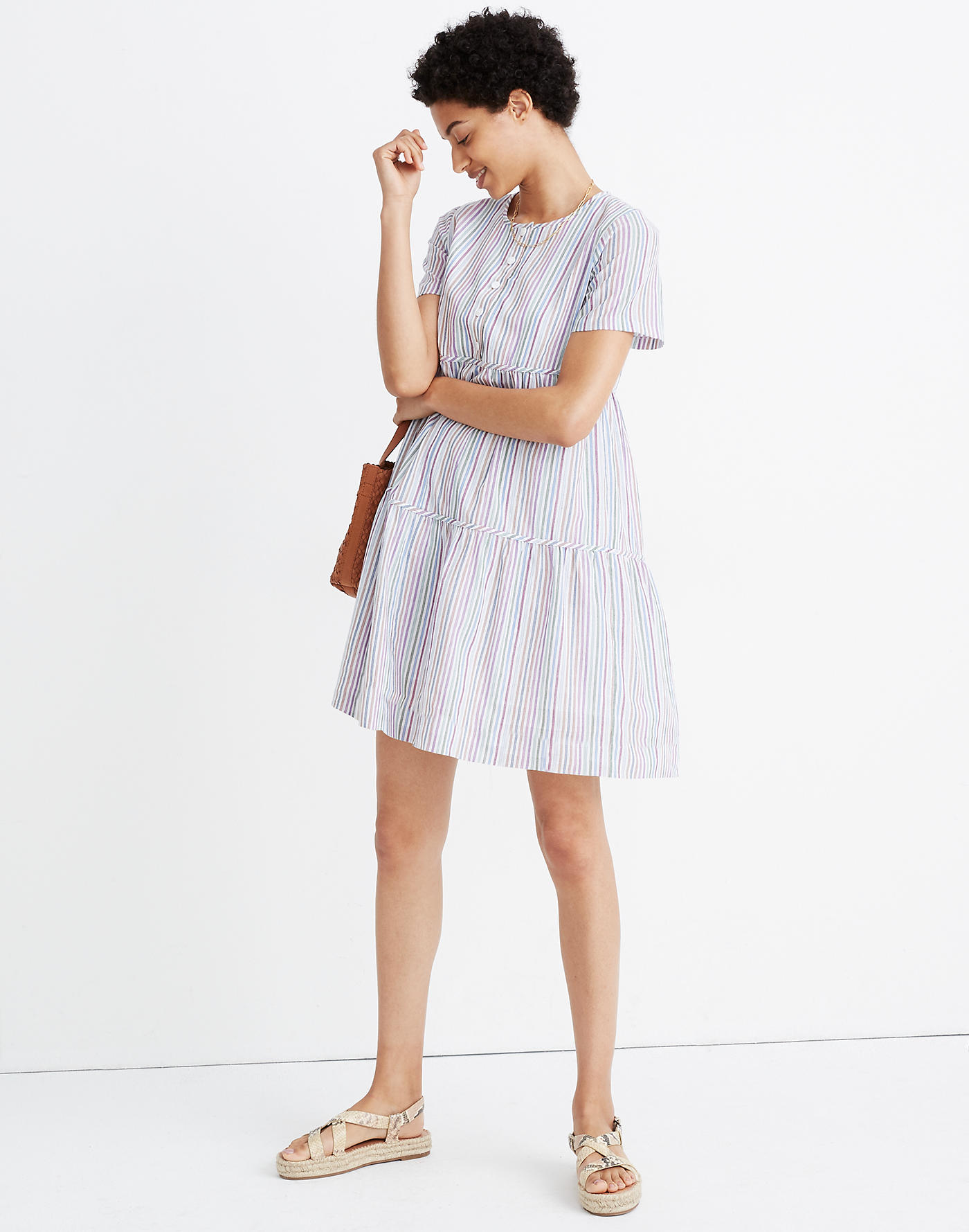 Madewell Striped Crewneck Button-Front Tiered Mini Dress