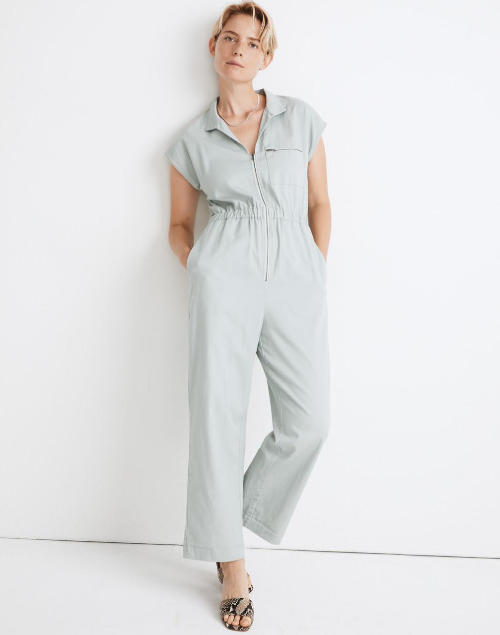 70s Jumpsuit | Disco Jumpsuits, Sequin Rompers Short-Sleeve Zip-Pocket Coverall Jumpsuit $138.00 AT vintagedancer.com
