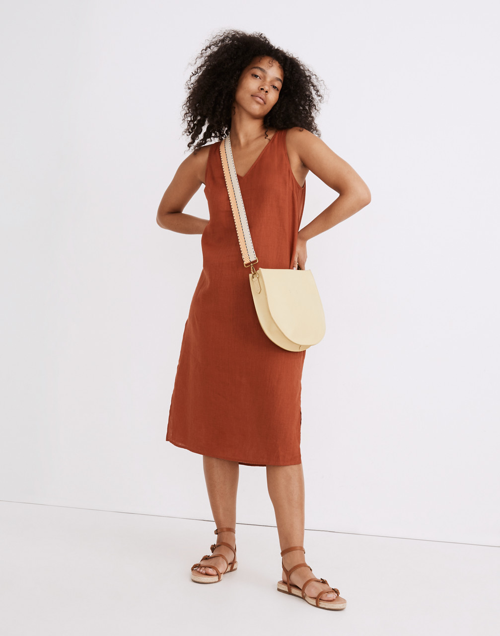 60s Dresses | 1960s Dresses Mod, Mini, Hippie Linen-Blend V-Neck Tank Dress $34.97 AT vintagedancer.com