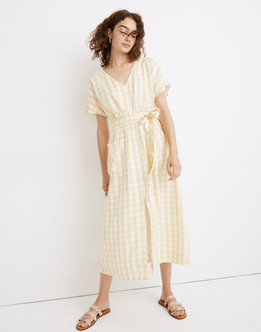 Cottagecore Clothing, Soft Aesthetic Dolman-Sleeve Tie-Waist Midi Dress in Gingham Check $59.99 AT vintagedancer.com