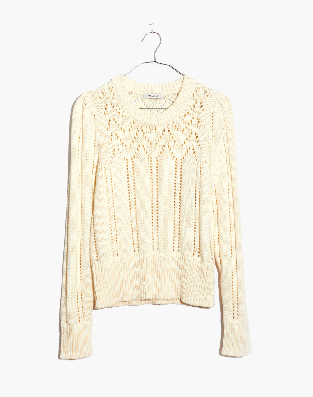 1930s Style Sweaters | Vintage Sweaters Pointelle Puff-Sleeve Sweater $59.99 AT vintagedancer.com