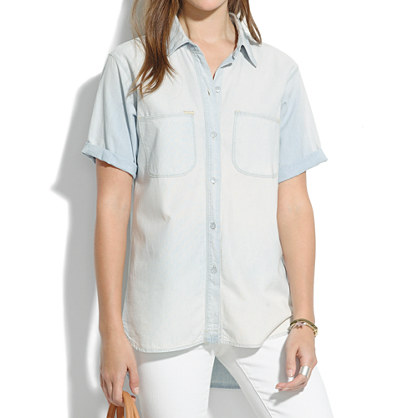 Perfect Chambray Short-Sleeve Ex-Boyfriend Shirt