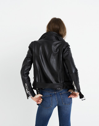 Ultimate Leather Motorcycle Jacket in true black image 2