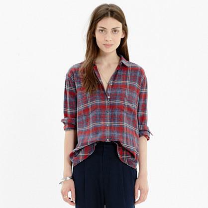 Flannel Oversized Boyshirt in Bainbridge Plaid