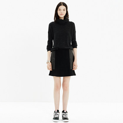 Leather-Panel Boulevard Skirt