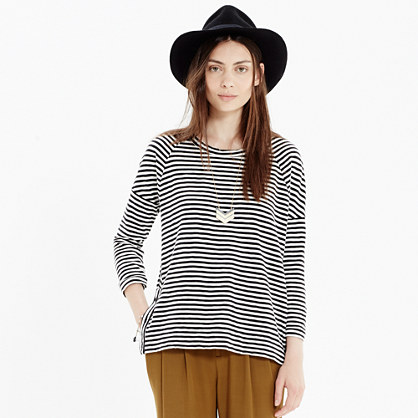 Side-Button Sweatshirt in Stripe