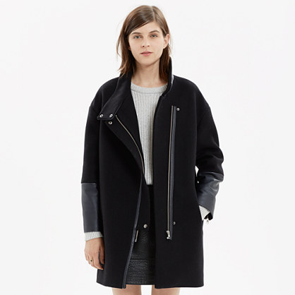 Leather-Edged City Grid Coat