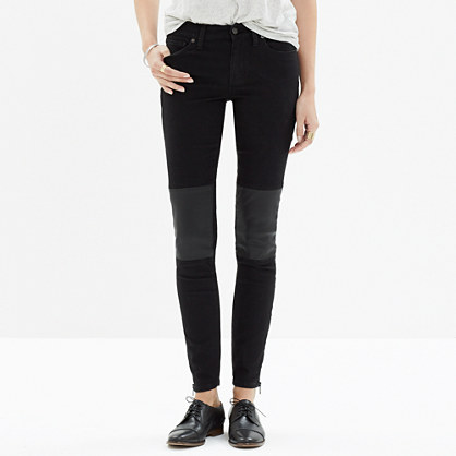 Skinny Skinny Zip Jeans: Leather-Patch Edition