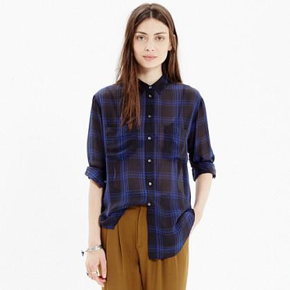Silk Spotlight Shirt in Deep Plaid