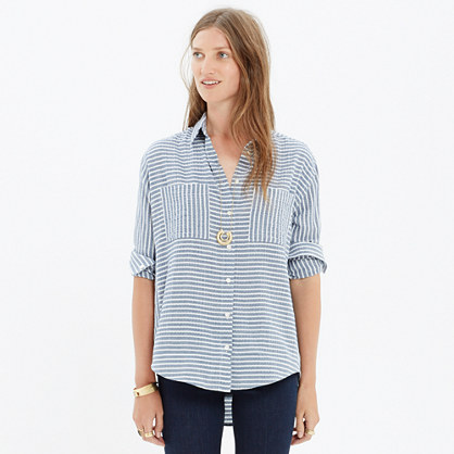 Oversized Button-Down Shirt in Crinkle Stripe : boyshirts | Madewell