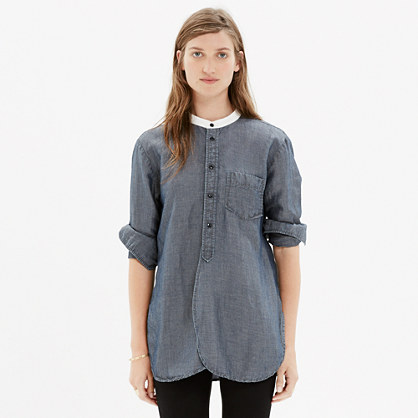 Rivet & Thread Collarless Workshirt in Chambray