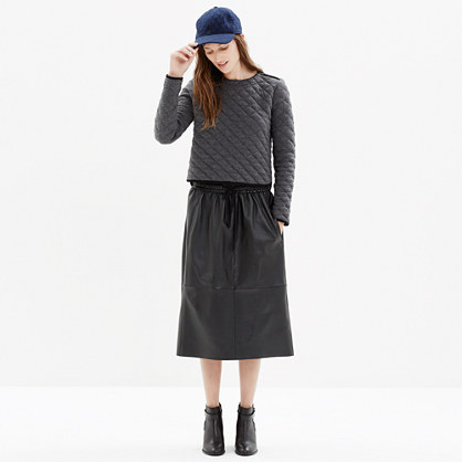 drawstring leather skirt new arrivals madewell