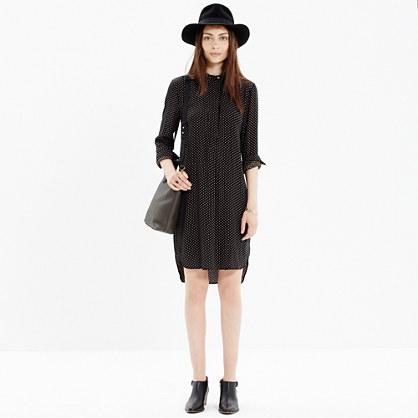 Long-Sleeve Tunic Dress in Dot