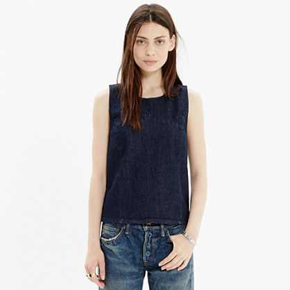 Denim Crop Tank in Dark Indigo