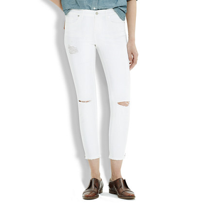 Skinny Skinny Crop Zip Jeans in Pure White: Destructed Edition